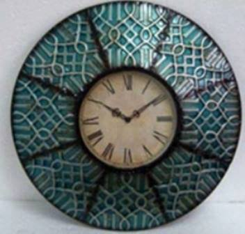 Turquoise Tile Wall Clock