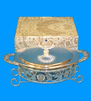 Glass Round Cupel with Metal Stand